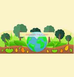 greening planet concept growing and planting tree vector image