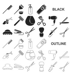 Hairdresser and tools black icons in set vector