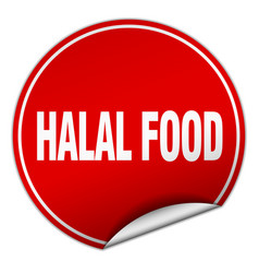 Halal food round red sticker isolated on white vector