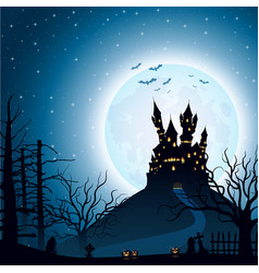 Halloween night background with castle and pumpkin vector