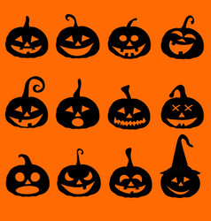 halloween pumpkin icons postcard vector image