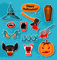 Happy halloween set of cartoon holiday sticker vector