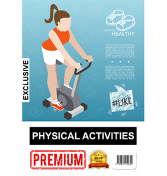 isometric fitness colorful poster vector image