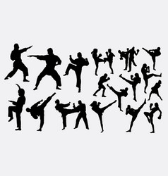 karate and boxing sport silhouette vector image