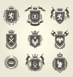 Knight coat of arms and heraldic shield blazons vector