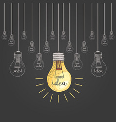 Lightbulb or idea engraved hand drawn in old vector