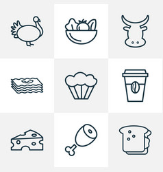 Meal icons line style set with beef cheddar vector