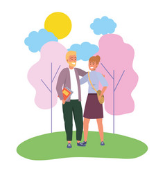Millenial couple date nature background vector