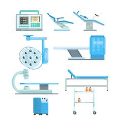 Modern medical and examination equipment set of vector