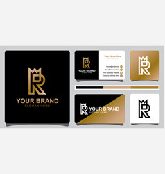 Monogram logos of initial letter r with crown vector