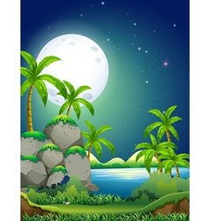 Nature scene with river at night vector