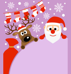 New year background card with deer and santa cla vector