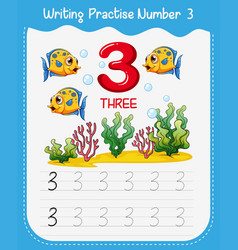 Number three tracing worksheets vector