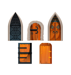 old medieval castle doors and gates vector image