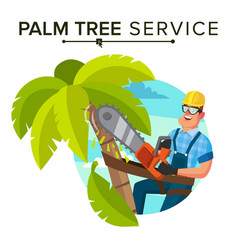 Palm tree removal trimming tree or removal vector