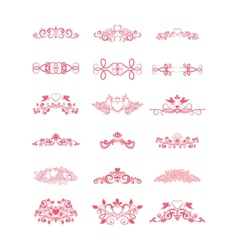 Pink Decorative Curly Elements vector