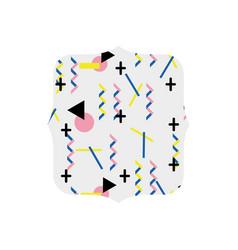 Quadrate with memphis geometric art background vector