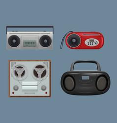 recorders vintage realistic reel sound vector image