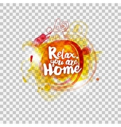 Relax at home lettering on transparent vector