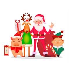 santa claus santa helper elf deer piggy vector image