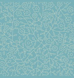 seamless pattern with blue leaf botanical vector image