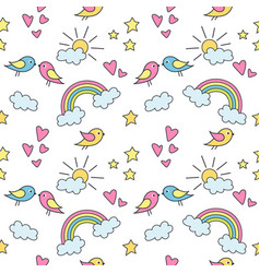 seamless pattern with colorful rainbows stars vector image