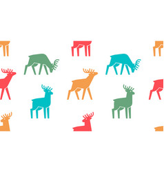 seamless pattern with deer logo vector image