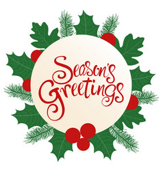 Seasons greetings text with decoration vector