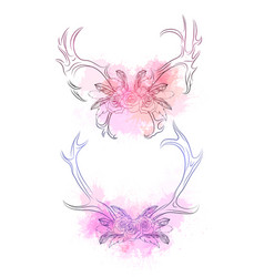 set deer horns with feather rose and gentle vector image