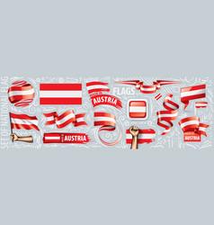 Set national flag austria in vector