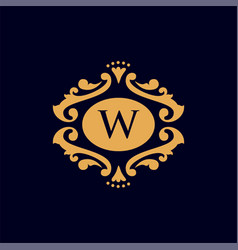 Set of elements in style of mono line luxury logo vector