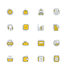 Set of flat line business icons vector