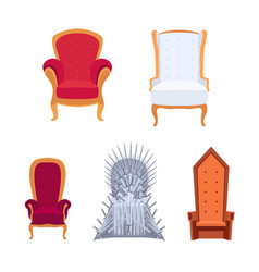Set royal armchairs or thrones cartoon style vector