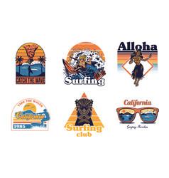 set vintage print collection summer hawaii vector image