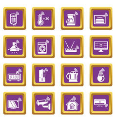 Smart home icons set purple square vector
