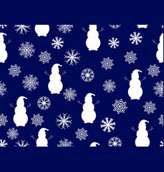snowmen and snowflakes seamless pattern christmas vector image