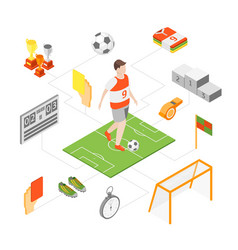 soccer sport game signs 3d icons set isometric vector image
