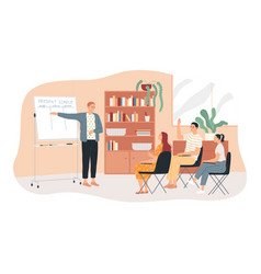 Studying english a teacher at whiteboard vector