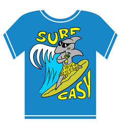 surfing kids t-shirt cool shark boy vector image