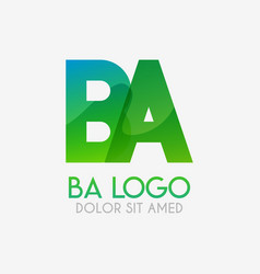 The ba logo with striking colors and gradations vector