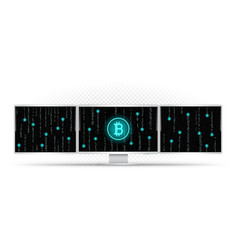 three white monitors mining bitcoin vector image