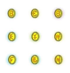 Types of money icons set pop-art style vector