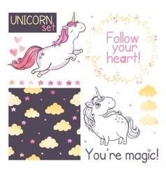 Unicorns set vector