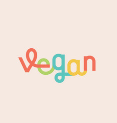 vegan abstract lettering sign emblem or vector image