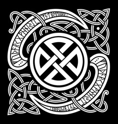 Viking design vintage pattern and norse runes vector
