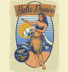 Vintage hawaiian girl hula dance vector