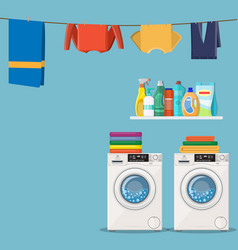 Wash machine with laundry service icons vector
