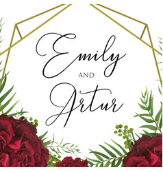 Wedding floral watercolor invite save date card vector