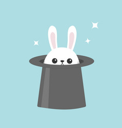 White bunny rabbit in magic hat sining stars vector