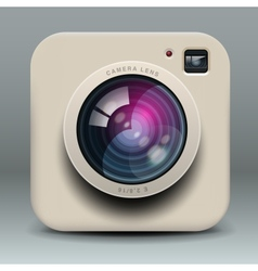 White photo camera icon vector image